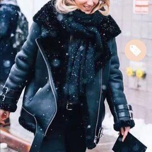 Oversized, faux fur Moto Jacket (neverworn)